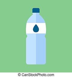 vector, water, witte , fles, achtergrond., illustratie