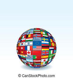 vector, wereldbol, gemaakt, vlaggen