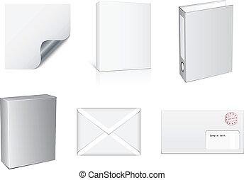 vector, witte , papier, voorwerpen