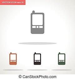 vector, witte , pictogram, vrijstaand, telefoon, achtergrond