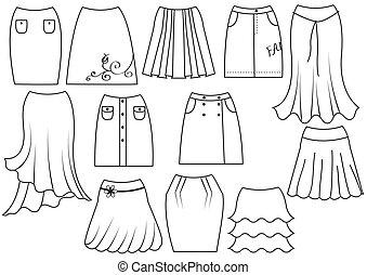 vector, witte , vrouw, mode, rokjes