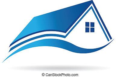 vector, woning, landgoed, pictogram, blauwgroen blauw, image., echte