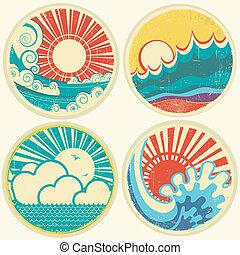 vector, zee, zon, waves., zeezicht, iconen, ouderwetse , illustratie
