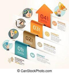 vector, zijn, gebruikt, illustration., zakelijk, workflow, marketing, opties, getal, opmaak, diagram, infographic, groenteblik, richtingwijzer, tijdsverloop, template., web ontwerp, spandoek