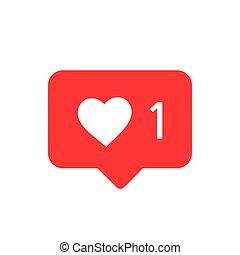 vector., zoals, vector, bericht, icon., instagram, pictogram, media, notifications, sociaal