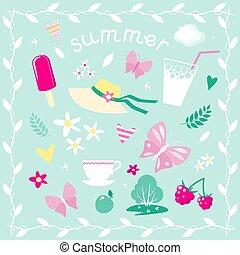 vector, zomer, thema, set, communie