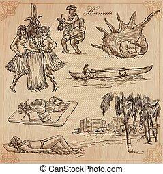 vectors., -, hawaii, hand, travel., getrokken