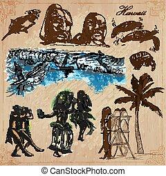 vectors, -, hawaii, travel., getrokken, pack., hand