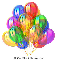 veelkleurig, versiering, jarig, glanzend, feestje, ballons