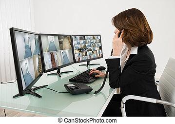 veelvoudig, beeldmateriaal, computers, het kijken, fototoestel, vrouwlijk, anwender