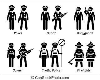 veiligheid, banen, publiek, women., beroepen