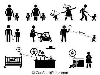 veiligheid, equipment., monitor, kind