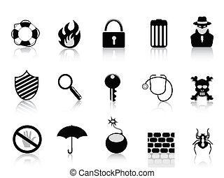 veiligheid, set, black , pictogram