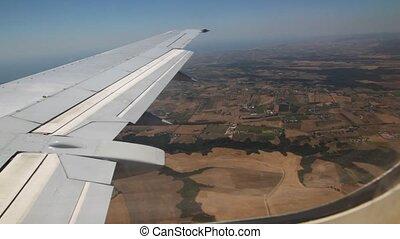 velden, op, vliegen, venster, schaaf, vleugel, landscape, aanzicht