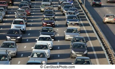 velen, auto's, snelweg, stad