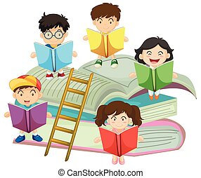 velen, lezende , boekjes , kinderen
