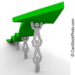 velen, voortvarend, groene, pijl omhoog