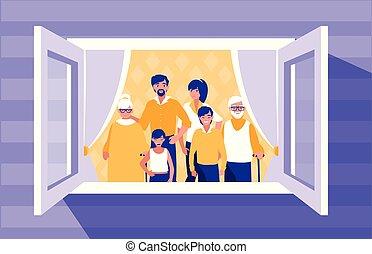 venster, groep, leden, gezin
