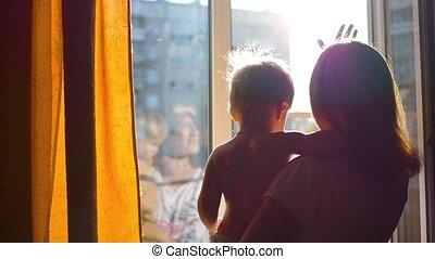 venster, open, blik, meisje