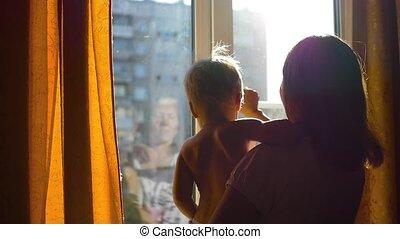 venster, zonnig, geopend, meisje, dag