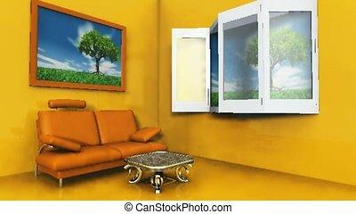 vensters, levend, open, kamer
