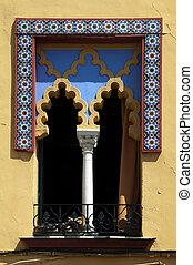 vensters, tegels, gewelfd, arabische , geometrisch