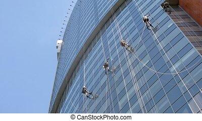 vensters, werkmannen , wolkenkrabber, schoonmaken, bedrijf, bijzondere