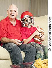 ventilatoren, vader, voetbal, zoon
