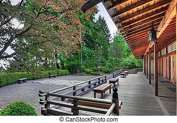 veranda, paviljoen, tuin japanner