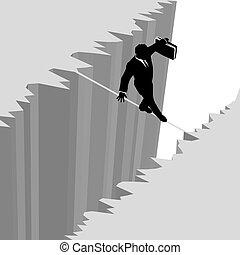 verantwoordelijkheid, zakelijk, gevaar, op, druppel, tightrope, wandelingen, man, klip