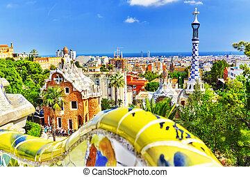 verbazend, park, barcelona., prachtig, guel