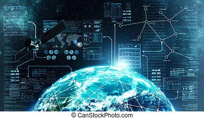 verbinding, buitenst, internet, ruimte