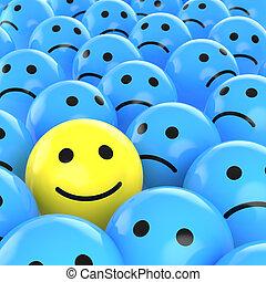 verdrietige , vrolijke , tussen, degene, smiley