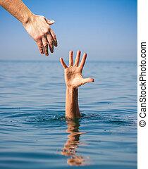 verdrinking, geven, hand, portie, zee, man