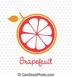 vereenvoudigde, grapefruit, silhouette
