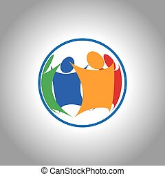 verenigd, groepering aaneen, mensen