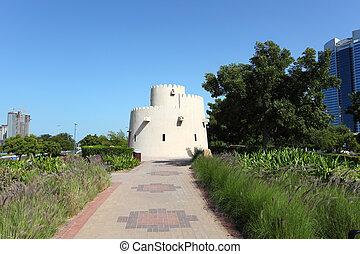 verenigd, oud, park, corniche, arabier, emiraten, abu dhabi, toren