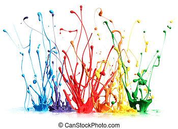verf , het bespaten, witte , vrijstaand, kleurrijke