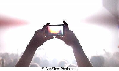 verfilming, menigte, concert