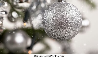 verfraaide, boompje, zilver, kerstmis