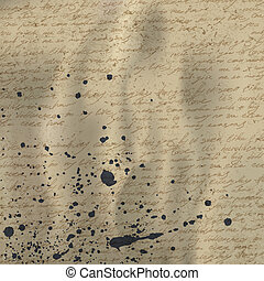 verfrommeld, oud, ouderwetse , abstract, eps10., papier, achtergrond, vector, inkt, splutter., handschrift