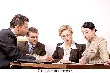 vergadering, 4 mensen
