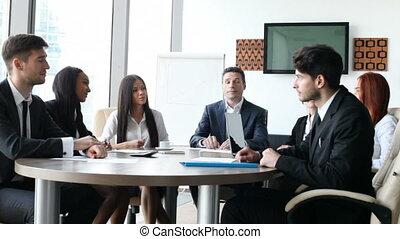 vergadering, applaudiseren, zakenlui