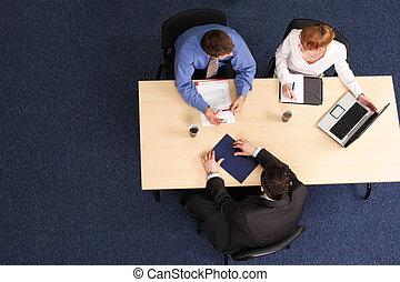 vergadering, drie, zakenlui