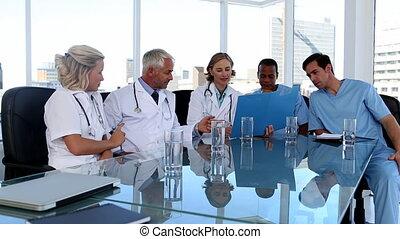 vergadering, gedurende, team, medisch