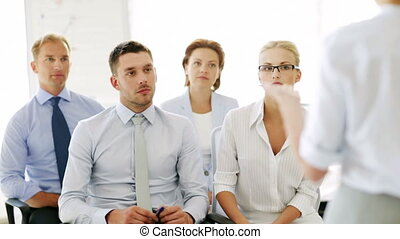 vergadering, hebben, zakenlui