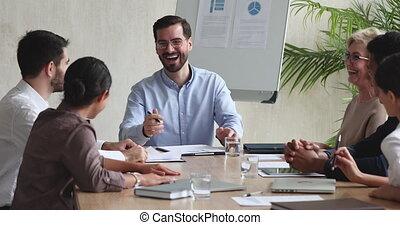 vergadering tafel, lachen, anders, team, zakelijk, klesten, vrolijk
