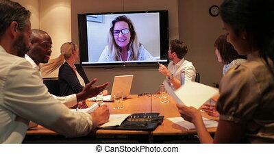 vergadering, video, bedrijfsvraag