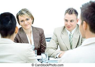 vergadering, vrijstaand, zakelijk