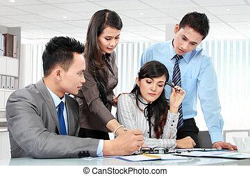 vergadering, zakelijk, samen